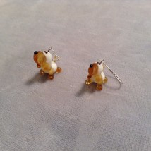 Miniature small hand blown glass made USA NIB basset hound dog earrings image 2