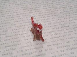 Miniature small hand blown glass red white big tiger cat made USA NIB image 2