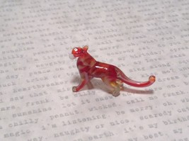 Miniature small hand blown glass red white big tiger cat made USA NIB image 4