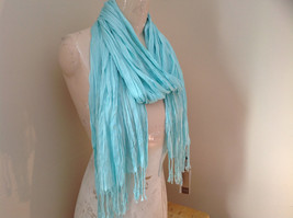 Mint Green Scrunched Style Tasseled Scarf by Look Tag Attached Length 65 Inches image 2