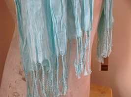 Mint Green Scrunched Style Tasseled Scarf by Look Tag Attached Length 65 Inches image 4