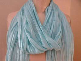 Mint Green Scrunched Style Tasseled Scarf by Look Tag Attached Length 65 Inches image 3