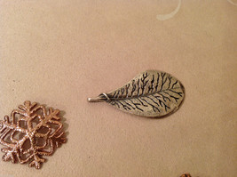 Mix Lot 9 Snowflakes 2 Leaves Gold Copper Colored Decoration Ornament or pendant image 4