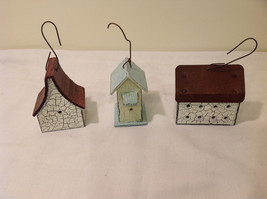 Mixed Lot of 3 Vintage Look Rustic Hand Made Wooden Birdhouse Ornaments image 2