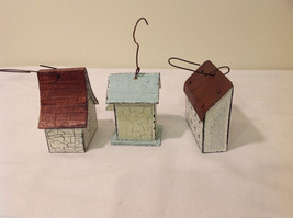 Mixed Lot of 3 Vintage Look Rustic Hand Made Wooden Birdhouse Ornaments image 5