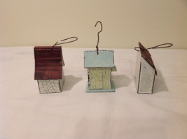 Mixed Lot of 3 Vintage Look Rustic Hand Made Wooden Birdhouse Ornaments image 4