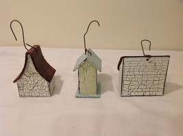 Mixed Lot of 3 Vintage Look Rustic Hand Made Wooden Birdhouse Ornaments image 3