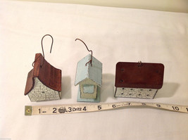 Mixed Lot of 3 Vintage Look Rustic Hand Made Wooden Birdhouse Ornaments image 9