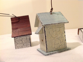 Mixed Lot of 3 Vintage Look Rustic Hand Made Wooden Birdhouse Ornaments image 6