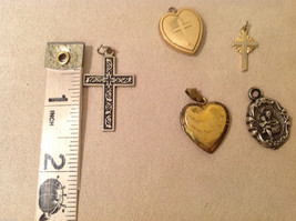 Mix Lot of 5 Vintage Charms Pendants Lockets (2 Gold Plated Hearts) image 4