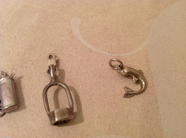 Mix Lot of 5 Sterling Silver Charms Pendants golf stirrup dolphin axe w opal image 4