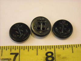 Mixed lot of black vintage buttons anchor octagonal and more image 5