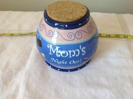 Moms Night Out Jar Bella Casa Ganz Wine Cork Lid Blue and Pink with Wine Glass image 6