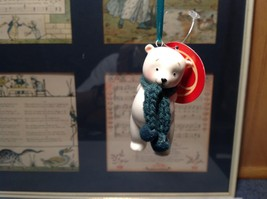 Miniature white ceramic bear w knit scarf color choice dept 56 new image 7