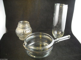 Mixed lot of 3 clear glass items Pyrex Olivaxine vase from Syracuse Light shade image 2