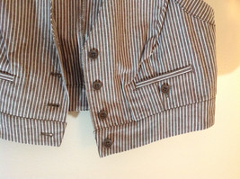 Larry Levine Brown White Striped Sleeveless Vest with 2 Faux Pockets Size Medium image 3