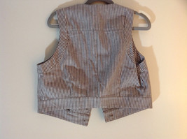 Larry Levine Brown White Striped Sleeveless Vest with 2 Faux Pockets Size Medium image 5