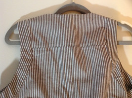 Larry Levine Brown White Striped Sleeveless Vest with 2 Faux Pockets Size Medium image 6