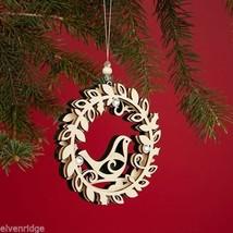 Laser Wood Ornament Flourish Three Layer Wreath with Bird image 3