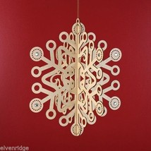 Laser Wood Ornament Flourish Large Slotted Snowflake with Crystals image 2