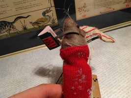 Mouse in Stocking Reading Book Ornament Red Glitter Not a Creature was Stirring image 2