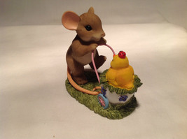 Mouse Pushing Cart Charming Tails Figurine Taking a Stroll with My Cute Chick image 4