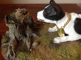 My Dog Figurine Hunting Dog Approaching Chipmunk on Tree Stump Jack Russell ? image 2