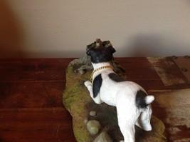 My Dog Figurine Hunting Dog Approaching Chipmunk on Tree Stump Jack Russell ? image 3