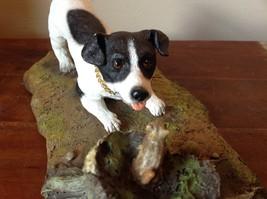 My Dog Figurine Hunting Dog Approaching Chipmunk on Tree Stump Jack Russell ? image 5
