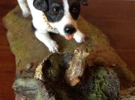 My Dog Figurine Hunting Dog Approaching Chipmunk on Tree Stump Jack Russell ? image 6