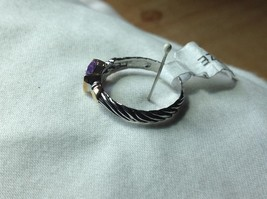 Lavender CZ baguette set in 18K yellow and white gold plated ring image 3