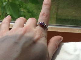 Lavender CZ baguette set in 18K yellow and white gold plated ring image 7