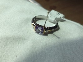 Lavender CZ baguette set in 18K yellow and white gold plated ring image 2