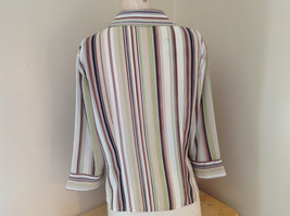 LeCaviar Green Tan Brown Striped Button Up Shirt V Neckline Collared Size M image 6
