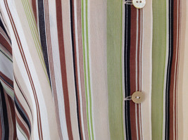 LeCaviar Green Tan Brown Striped Button Up Shirt V Neckline Collared Size M image 5