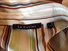 LeCaviar Green Tan Brown Striped Button Up Shirt V Neckline Collared Size M image 7