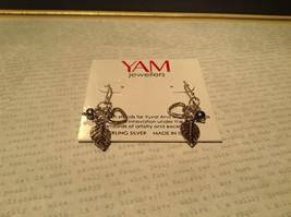 Leaf Heart Black Pearl Sterling Silver 925 Handmade Earrings Inspired by Nature image 2