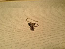 Leaf Heart Black Pearl Sterling Silver 925 Handmade Earrings Inspired by Nature image 3