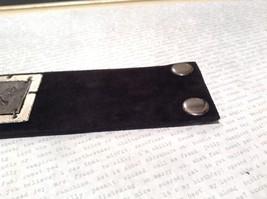 Leather Handcrafted Bracelet Pewter Base Metal Medallion Black Dragonfly image 4