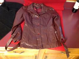 Leathercraft Process Brand Womens Burgundy Leather Jacket size Small Medium S M image 10