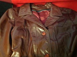 Leathercraft Process Brand Womens Burgundy Leather Jacket size Small Medium S M image 5