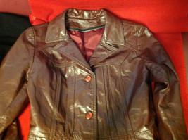 Leathercraft Process Brand Womens Burgundy Leather Jacket size Small Medium S M image 11