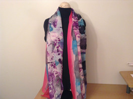 NEW Blue and Pink Shibori Tie Dye Scarf by MAD 100 Percent Polyester image 2