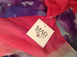 NEW Blue and Pink Shibori Tie Dye Scarf by MAD 100 Percent Polyester image 6