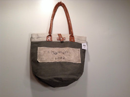 NEW 100% Recycled Cotton Khaki with Brown Straps Shoulder Bag image 2