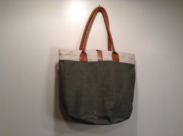 NEW 100% Recycled Cotton Khaki with Brown Straps Shoulder Bag image 7