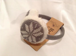 NEW Gray White Ear Muffs Warmers Knit Faux Fur Inside Snowflake Design One Size image 2
