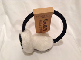 NEW Black White Ear Muffs Warmers Knit Faux Fur Inside Snowflake Design One Size image 2