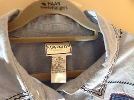 Napa Valley Light Blue Button Up Shirt Decorated Front Collared Size XXL image 5