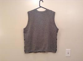 National Gray Vest Leaf Pattern Stripes Knitted V Neck Size 2X Button Closure image 2